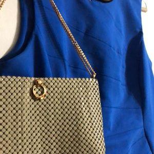 Whiting & Davis retro metal beaded shoulder purse